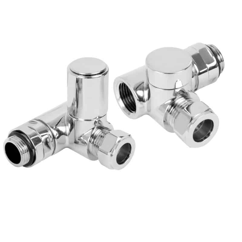 Angled Chrome Dual Fuel Radiator Valves, Round Type, Solid Brass, 1/2″ BSP 15mm. For Heated Towel Rails / Warmers