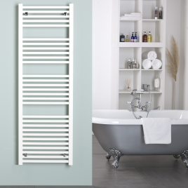 Laurel White Square Tube Heated Towel Rail Central Heating
