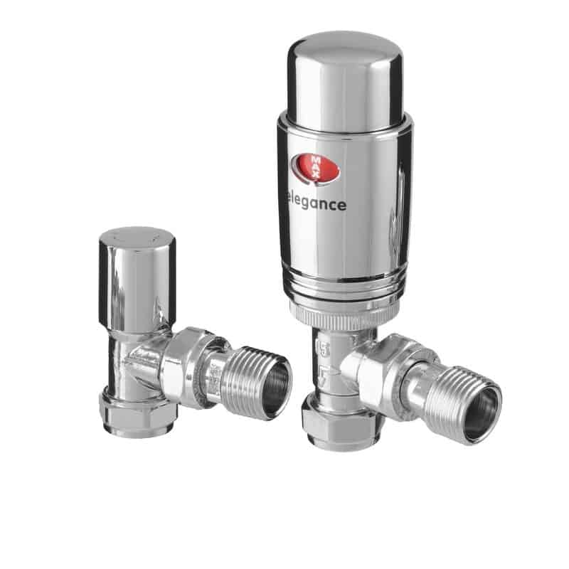 Quality Angled Chrome Thermostatic Radiator Valves, Solid Brass, 1/2″ BSP 15mm. For Heated Towel Rails / Designer Radiators