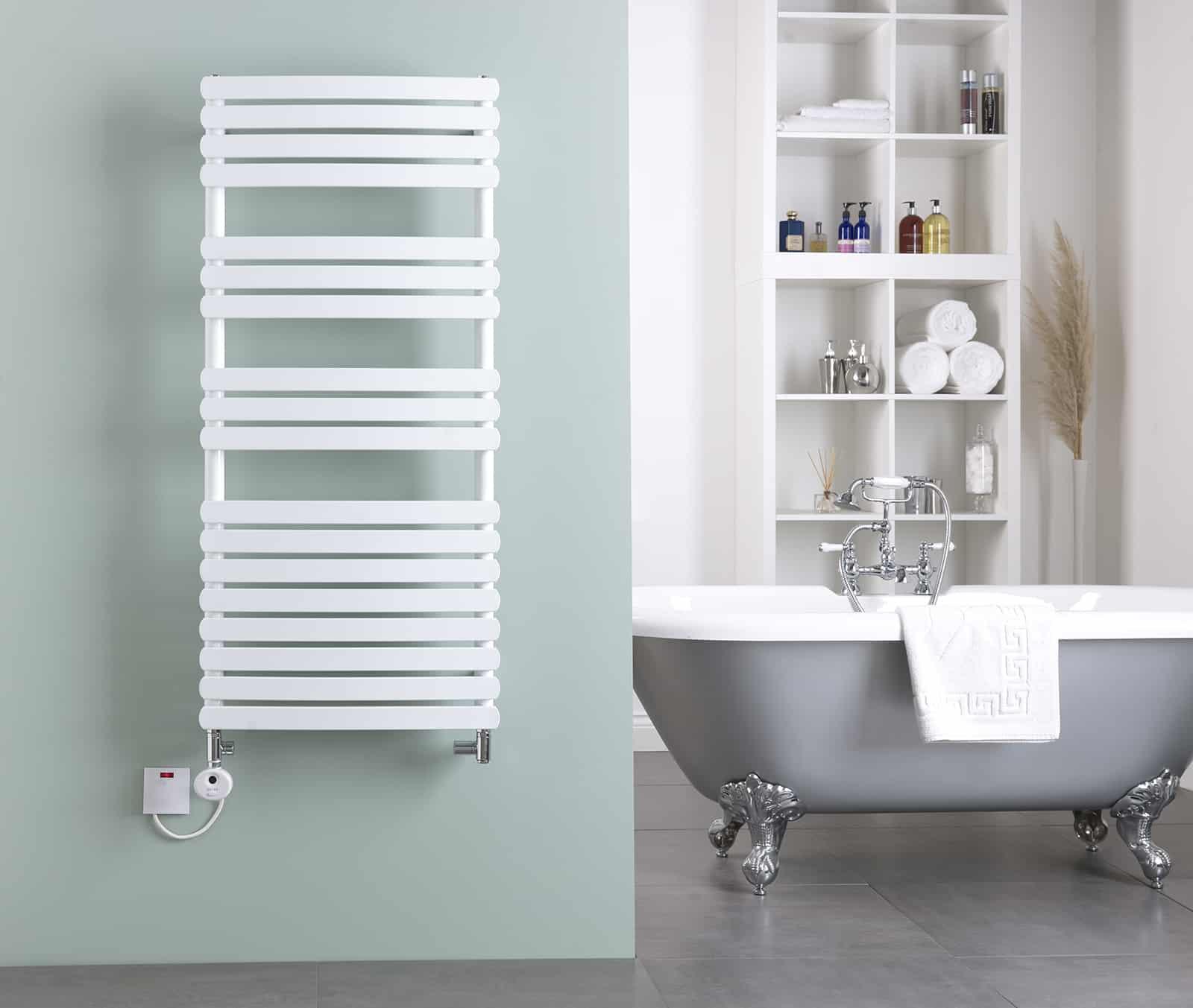 Greeba Chrome Heated Towel Rail: GREEBA Flat Tube Heated Towel Rail / Warmer, Chrome