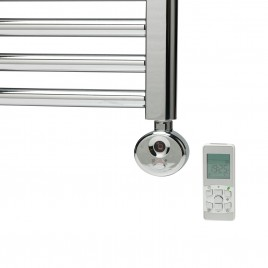 R2 Digital Thermostatic Electric Towel Rail Heating Element Chrome & White