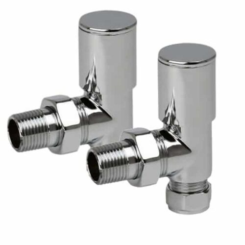 Quality Angled Chrome Radiator Valves, Round Type, Solid Brass, 1/2″ BSP 15mm For Heated Towel Rails / Designer Radiators