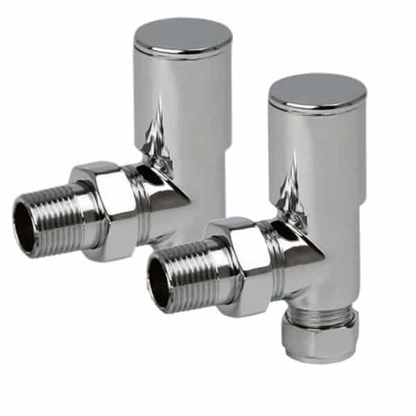 Quality Angled Chrome Radiator Valves, Round Type, Solid Brass, 1/2″ BSP 15mm For Heated Towel Rails / Designer Radiators