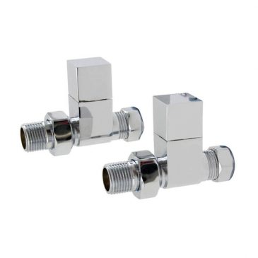 Quality Angled Chrome Radiator Valves, Square Type, Solid Brass, 1/2″ BSP 15mm. For Heated Towel Rails / Designer Radiators