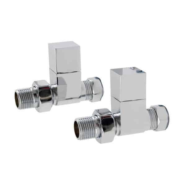 Quality Angled Chrome Radiator Valves, Square Type, Solid Brass, 1/2″ BSP 15mm. For Heated Towel Rails / Designer Radiators