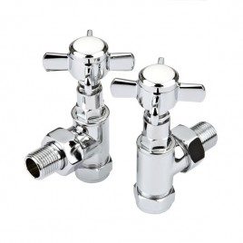 Traditional Angled Tap Valves For Central Heating Dual Fuel Towel Rail Radiator