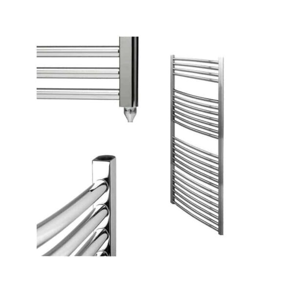 BRAY Curved Heated Towel Rail / Warmer / Radiator, Chrome - Electric
