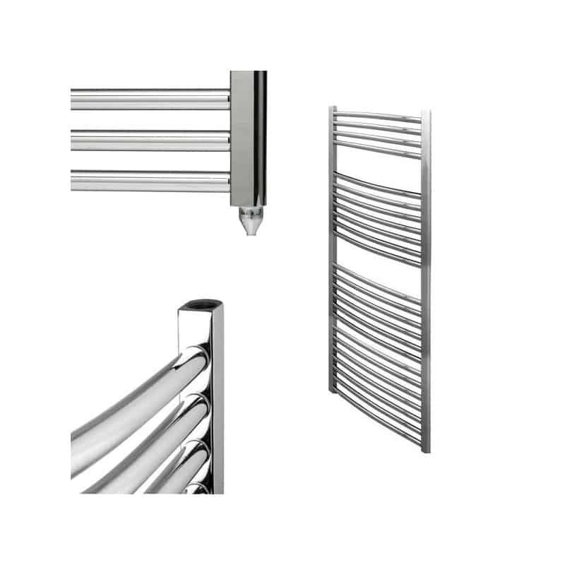 BRAY Curved Heated Towel Rail / Warmer / Radiator, Chrome – Electric