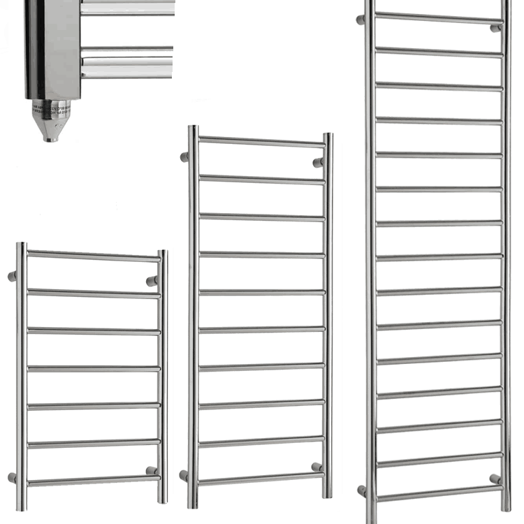 ALPINE Chrome Modern Towel Warmer / Heated Towel Rail Radiator – Electric