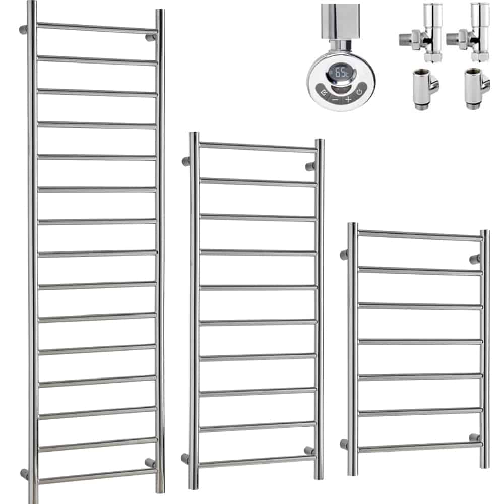 ALPINE Chrome Modern Towel Warmer / Heated Towel Rail – Dual Fuel, Thermostat + Timer