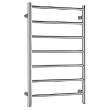 Small Alpine Modern Heated Towel Rail Warmer Radiator, Round Tube Chrome - Central Heating