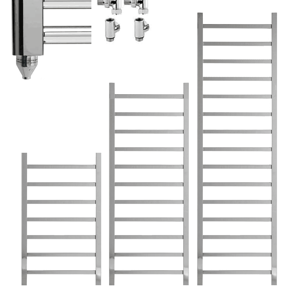 BALLAUGH Square Tube Modern Towel Warmer / Heated Towel Rail, Chrome – Dual Fuel
