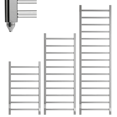 BALLAUGH Square Tube Modern Towel Warmer / Heated Towel Rail, Chrome - Electric