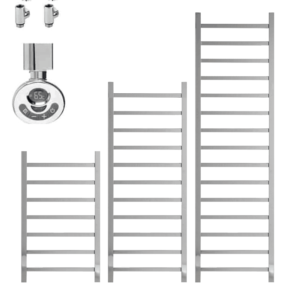 BALLAUGH Square Tube Heated Towel Rail Warmer, Chrome – Dual Fuel, Thermostat + Timer