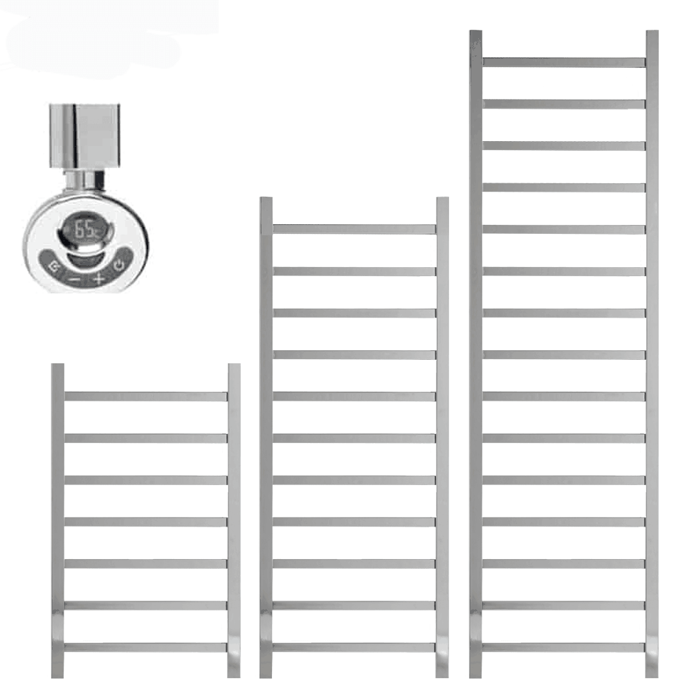 BALLAUGH Square Tube Heated Towel Rail, Warmer, Chrome – Electric, Thermostat + Timer
