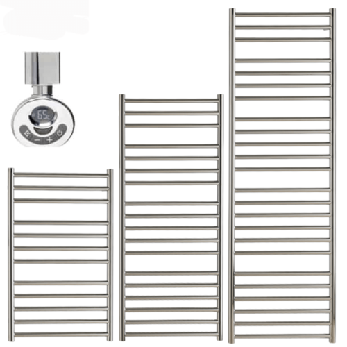 BRADDAN Stainless Steel Heated Towel Rail / Warmer - Electric + Thermostat, Timer