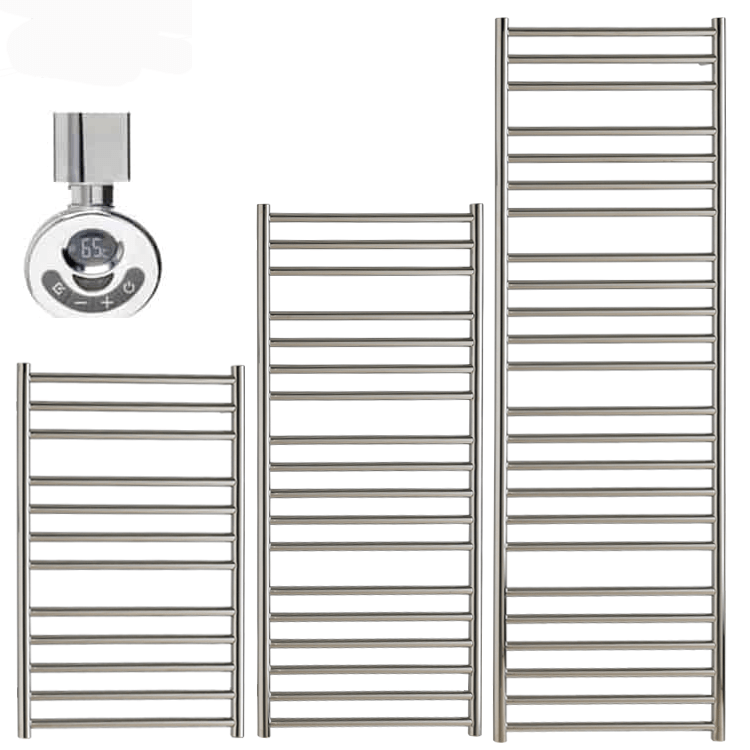 BRADDAN Stainless Steel Heated Towel Rail / Warmer – Electric + Thermostat, Timer