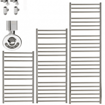 BRADDAN Stainless Steel Heated Towel Rail / Warmer – Duel Fuel, Thermostat + Timer
