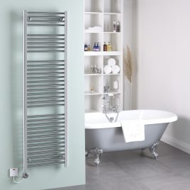Straight Chrome Heated Towel Rail Thermostatic Electric The Bray