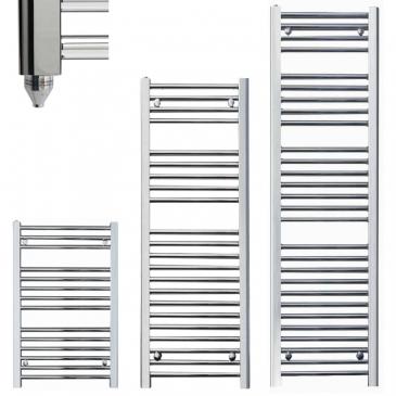 BRAY Straight or Flat Heated Towel Rail / Warmer / Radiator, Chrome – Electric