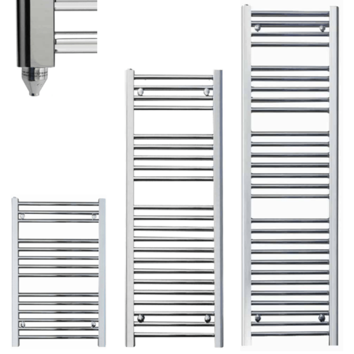 BRAY Straight or Flat Heated Towel Rail / Warmer / Radiator, Chrome - Electric