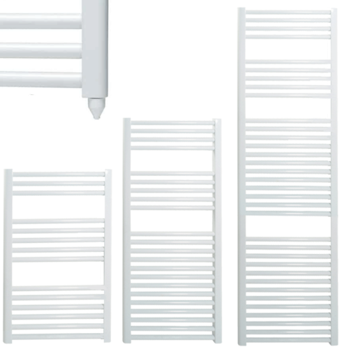 BRAY Straight or Flat Heated Towel Rail / Warmer / Radiator, White - Electric