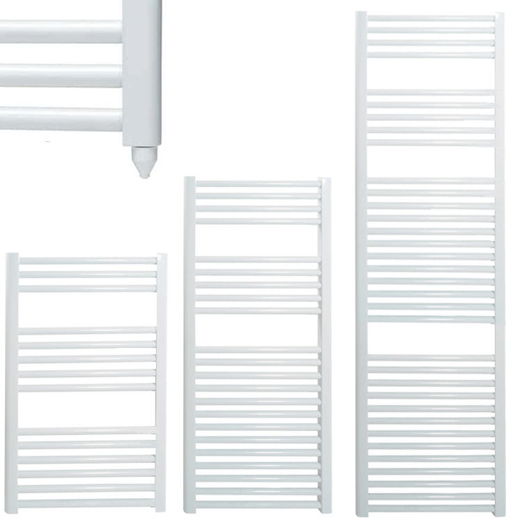 BRAY Straight or Flat Heated Towel Rail / Warmer / Radiator, White – Electric