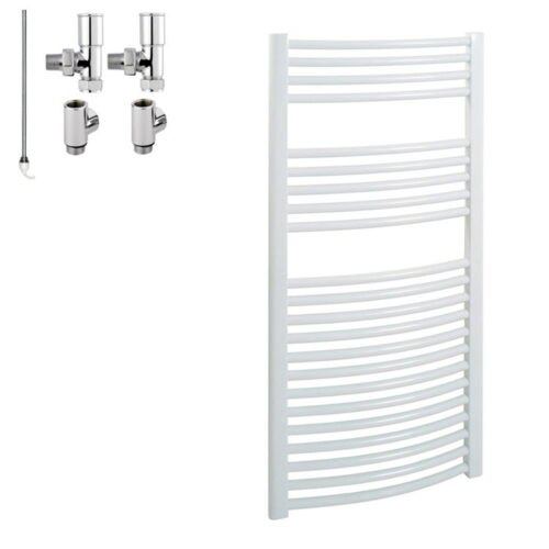 BRAY Curved Heated Towel Rail / Warmer / Radiator, White - Dual Fuel, Electric