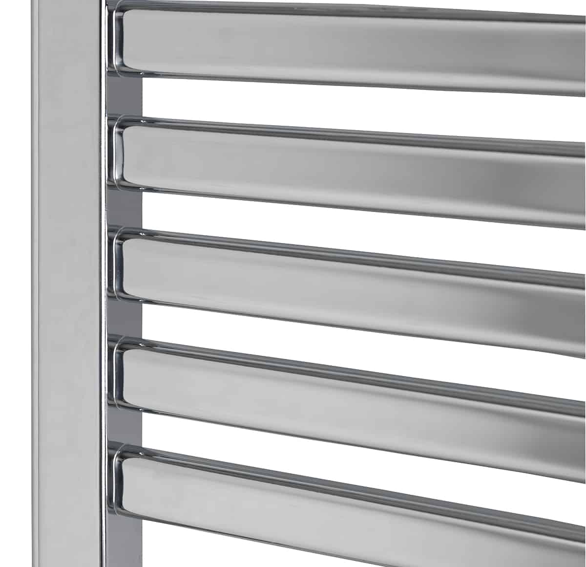 Alpine Modern Heated Towel Rail Warmer Chrome: CROSBY Flat Tube Modern Heated Towel Rail / Warmer, Chrome