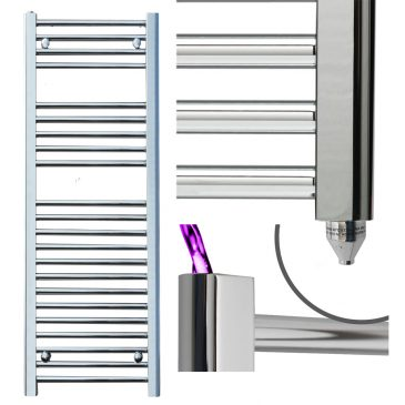BRAY Straight or Flat Heated Towel Rail / Warmer / Radiator, Chrome – Electric