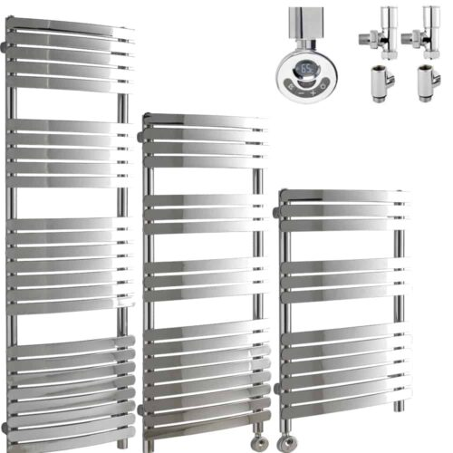 GREEBA Flat Tube Heated Towel Rail / Warmer, Chrome - Dual Fuel, Thermostat + Timer