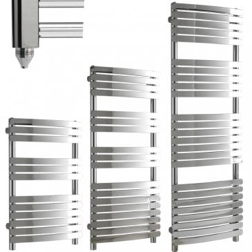 GREEBA Flat Tube Modern Heated Towel Rail / Warmer / Radiator, Chrome – Electric