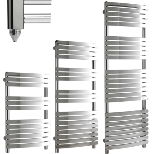 GREEBA Flat Tube Modern Heated Towel Rail / Warmer / Radiator, Chrome - Electric