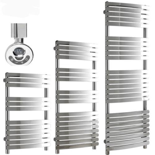 GREEBA Flat Tube Modern Heated Towel Rail, Chrome - Electric, Thermostat + Timer