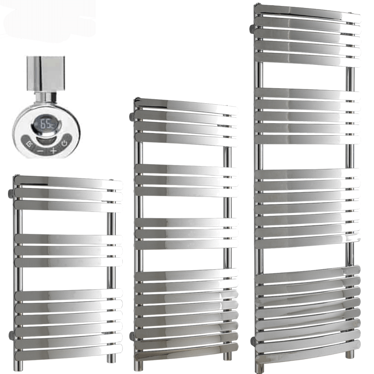 GREEBA Flat Tube Modern Heated Towel Rail, Chrome – Electric, Thermostat + Timer