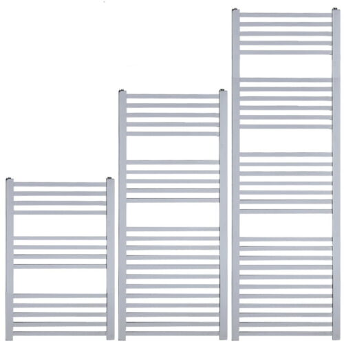 LAUREL Square Tube Modern Heated Towel Rail / Warmer, Chrome - Central Heating
