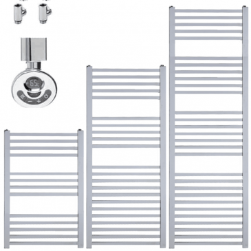 LAUREL Square Tube Modern Heated Towel Rail / Warmer – Dual Fuel, Thermostat + Timer
