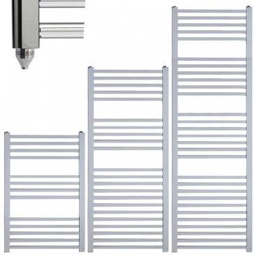 LAUREL Square Tube Modern Heated Towel Rail / Warmer / Radiator, Chrome – Electric