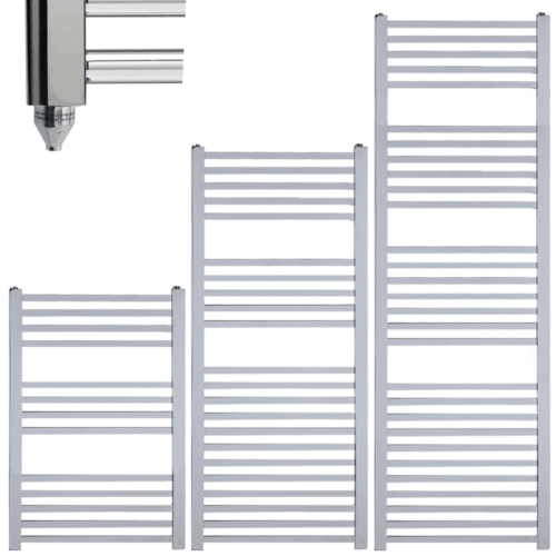 LAUREL Square Tube Modern Heated Towel Rail / Warmer / Radiator, Chrome - Electric