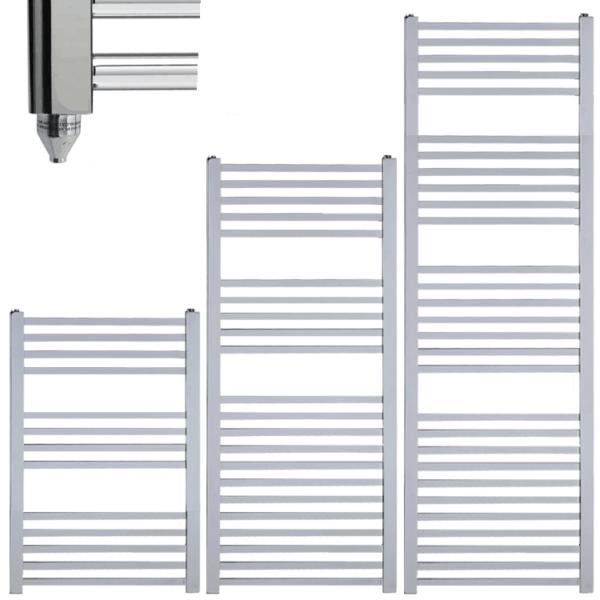 LAUREL Square Tube Modern Heated Towel Rail / Warmer / Radiator, Chrome - Electric
