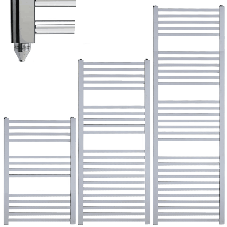 LAUREL Square Tube Modern Heated Towel Rail / Warmer / Radiator, Chrome – Electric