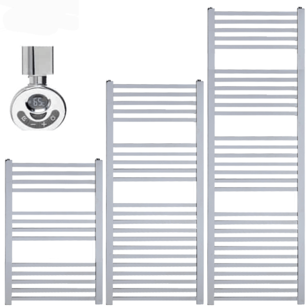 LAUREL Square Tube Heated Towel Rail / Warmer, Chrome - Electric, Thermostat + Timer