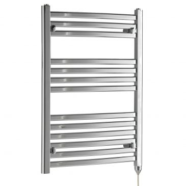 CROSBY Flat Tube Modern Heated Towel Rail / Warmer / Radiator, Chrome – Electric