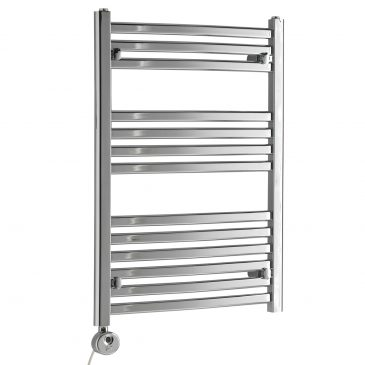 CROSBY Flat Tube Modern Heated Towel Rail, Chrome – Electric, Thermostat + Timer