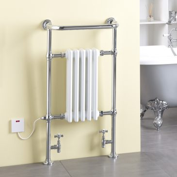RAMSEY Traditional Victorian Heated Towel Rail & Column Radiator,, White DUAL FUEL