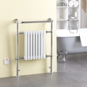 RAMSEY Traditional Victorian Heated Towel Rail & Column Radiator,, White ELECTRIC
