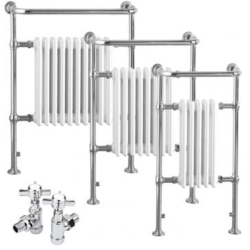 RAMSEY Traditional Victorian Heated Towel Rail & Column Radiator – Dual Fuel Electric