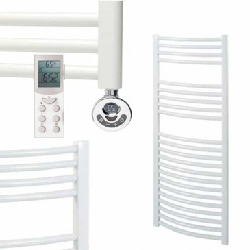 BRAY Curved Towel Warmer / Heated Towel Rail, White – Electric, Thermostat + Timer
