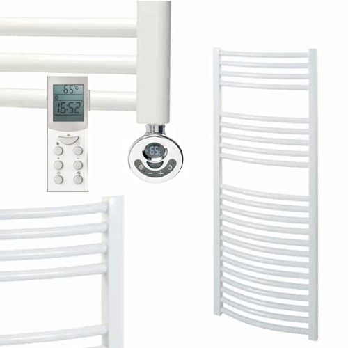 Bray Curved Towel Warmer Heated Towel Rail White