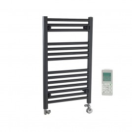 Anthracite Electric Central Heating Towel Rails-Dual Fuel and Thermostatic-The Bray-Straight
